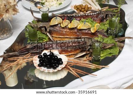 Russian fish dish from a sturgeon at restaurant
