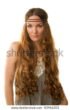 russian girl-hippie  advertises long curly hair on the isolated white background