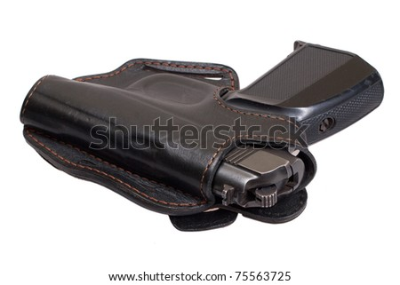 Russian Hand Guns http://www.shutterstock.com/pic-75563725/stock-photo-russian-handgun-pmm-makarov-in-a-holster-isolated-on-a-white-background.html