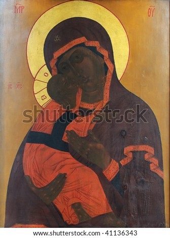 Russian icon of Madonna Mother of God (Mary) and child (Jesus Christ)