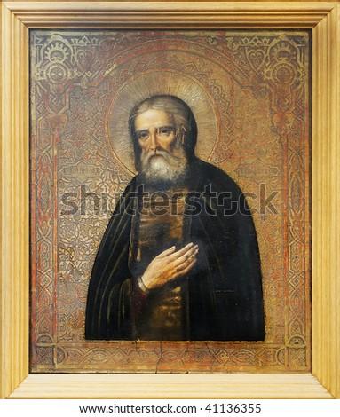 Russian Icon on wood of Seraphim of Sarov