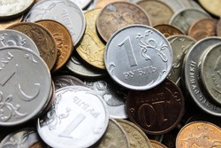 Russian iron rubles in a pile. Russian currency. Background rubles.  A scattering of coins. A lot of Russian rubles. Iron money background. Finance, business, investment concept.