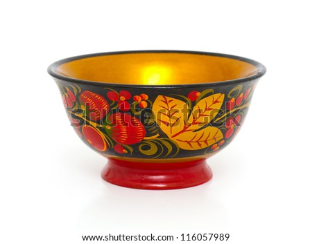 Russian Khokhloma bowl isolated on white
