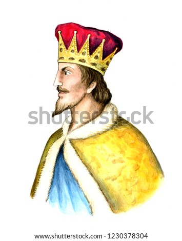 Russian King Sviatopolk I Vladimirovich (Accursed).  was the Kniaz (Prince) of Turov (988–1015) and Velykyi Kniaz (the Grand Prince) of Kiev (1015–1019). Watercolor hand drawn portrait.