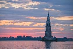 Russian Landmark. Flooded Belfry in Kalyazin, Rybinsk reservoir