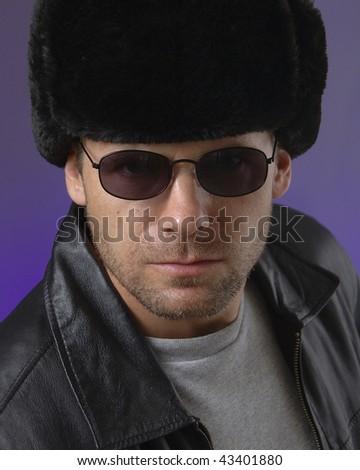 Russian man wearing traditional Ushanka hat