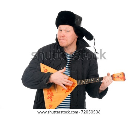 Russian man with balalaika,red-neck.isolated on white background