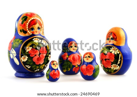 Russian Matryoshka doll in front of a white background
