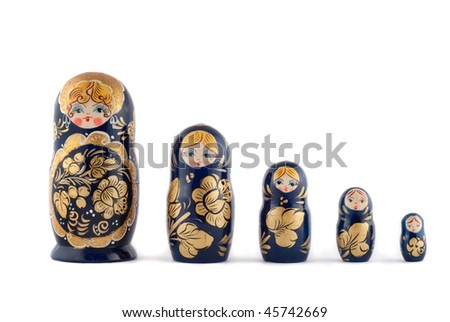 Russian matryoshka dolls in a row isolated on white