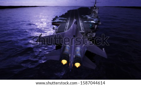 Russian military airplane landing on aircraft carrier ship in ocean 3d rendering stock photo