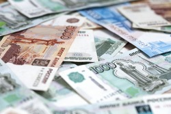 Russian money. Different denomination of bills. Close-up of Russian rubles. Finance concept. Money background and texture. Copy space.