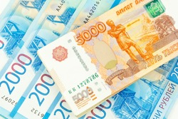 Russian money in denominations of two and five thousand ruble