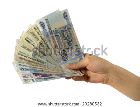 russian money in the hand