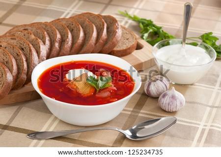 russian national red borsch. Soup