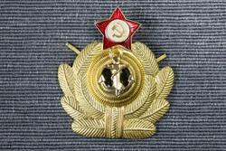 Russian Navy emblem, coat of arms. Old soviet pins, communistic symbolism. Soviet Union.