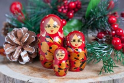 Russian nesting doll and christmas tree. Matryoshka doll