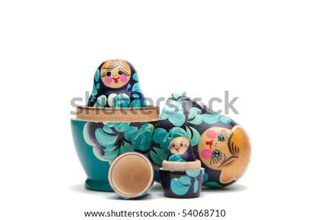 russian nesting dolls (babushka) half open - stock photo