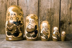 Russian nesting dolls ( babushkas or matryoshkas ) Retro filter
