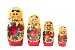 Russian nesting dolls, matryoshkas isolated on the white background