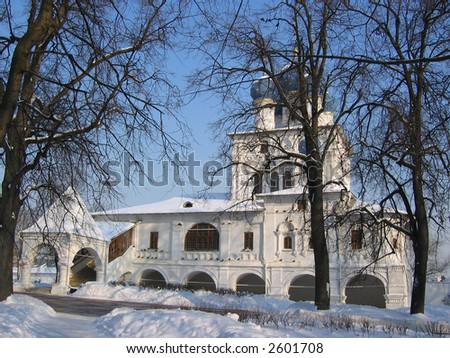 Russian orthodox church in winter (build in 17th century). Museum-reserve Kolomenskoye, Moscow, Russia.