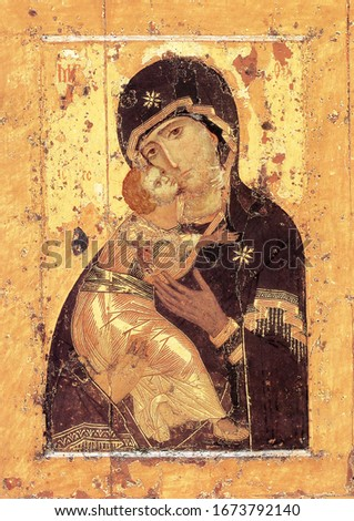 Russian, Orthodox, Eastern Church,Virgin, Virgin Mary, Vladimir Icon of the Mother of God  Foto d'archivio ©