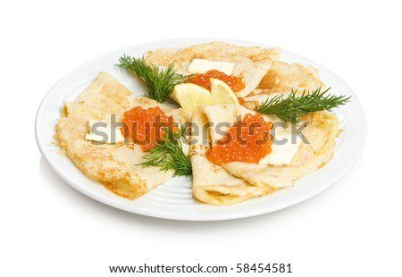 Russian pancakes with red caviar. Isolated on white by clipping path. - stock photo