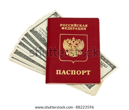 Russian passport and US dollars isolated on white background - stock photo