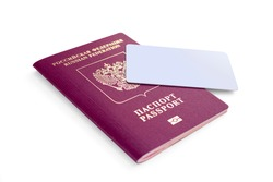 Russian passport with bank card  isolated on white background