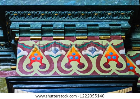 Russian patterns and colors in interior painting. Church of the Epiphany on Gutuevsky island in St. Petersburg.