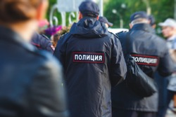 Russian police squad formation back view with