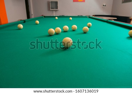 Russian pool table with white balls pyramid,American pyramid,Dynamic pyramid,Siberian pyramid,Nevsky pyramid,Moscow pyramid games with the cue ball.
