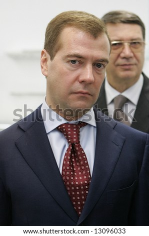 Russian President Dmitry Medvedev, then the Russia's First Deputy Prime Minister, attends a news conference on November 29, 2007.