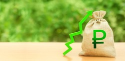Russian ruble money bag and green up arrow. Strengthening of national currency, revaluation, investment attractiveness. Economic growth. Deposit interest rate rise, cheap loans. Stability, prosperity.