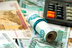 Russian rubles background. Cash, currrency, banknotes bank Russia. Wealth financial safety concept