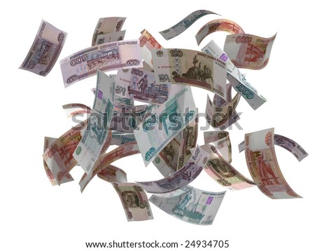 russian rubles falling isolated on white, 3d render