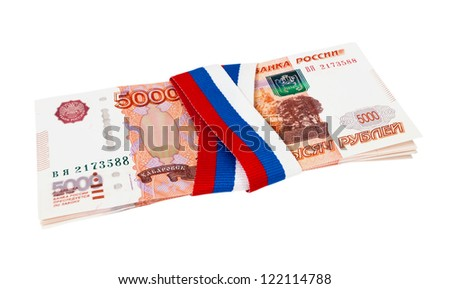 Russian rubles wrapped by ribbon on white background