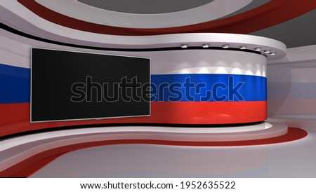 Russian. Russian Federation flag. Russian Federation flag background. TV studio. News studio. Backdrop for any green screen or chroma key video or photo production. 3d render. 3d Stok fotoğraf ©