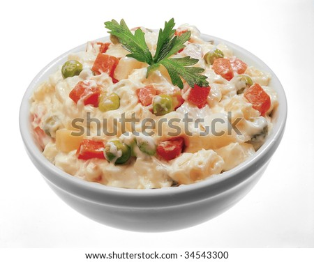 Russian salad. Isolated.