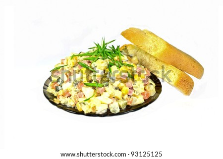 russian salad olivie with bread isolated on white background