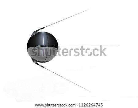 Russian satellite Sputnik on white background, 3d rendering
