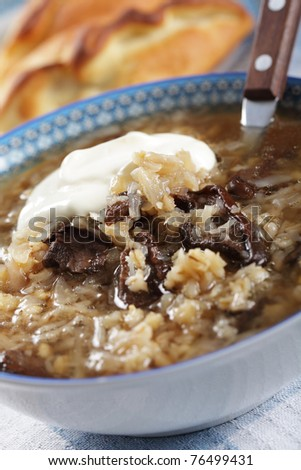 Russian sauerkraut soup with mushrooms and pearl barley - stock photo