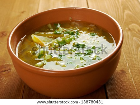 Russian soup rassolnik .Meat soup with pickled cucumbers.Russian cuisine