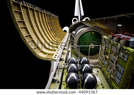 Russian spaceship with open main section over black