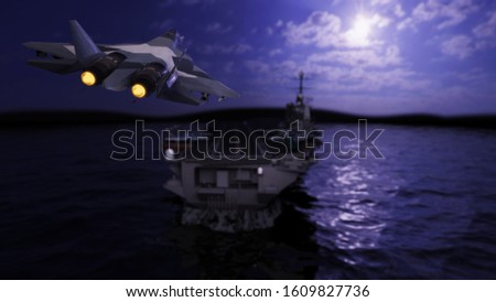 Russian stealth jet is landing to aircraft carrier at night 3d render stock photo