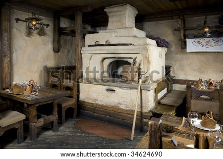 Russian stove. Interior of old russian home with traditional oven