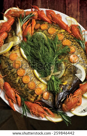 Russian style stuffed pike. Traditional Russian food.