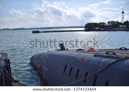 Russian submarine from the cold war. Picture from a harbor of the Baltic Sea