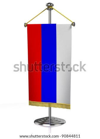 Russian table flag isolated on white