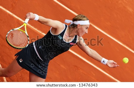 Russian top tennis player and world #4 Svetlana Kuznetsova serves during her match at French Open 2008, Roland Garros. Paris, France.