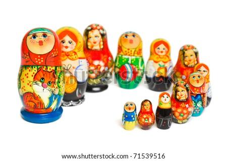 Russian toy matrioska isolated on white background - stock photo